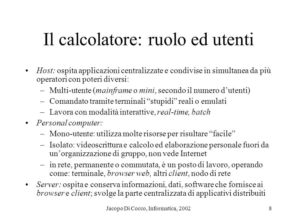 Il calcolatore: ruolo ed utenti