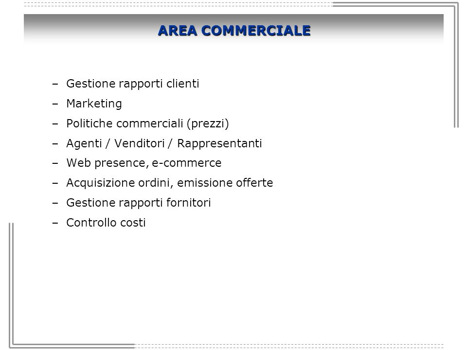 AREA COMMERCIALE Gestione rapporti clienti Marketing
