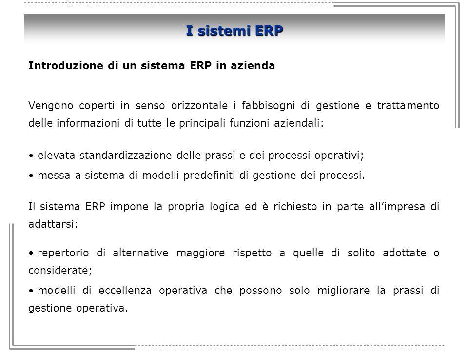I sistemi ERP Introduzione di un sistema ERP in azienda
