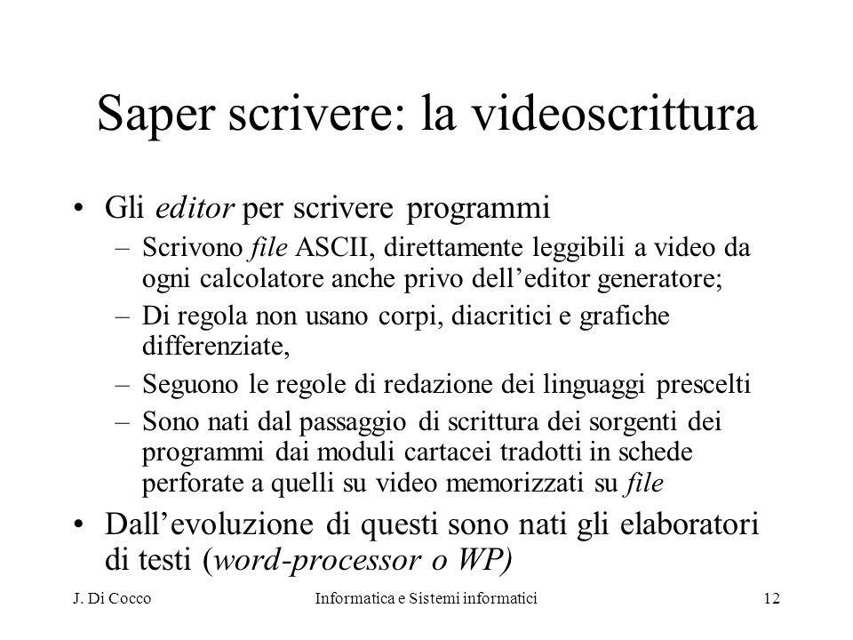 Saper scrivere: la videoscrittura