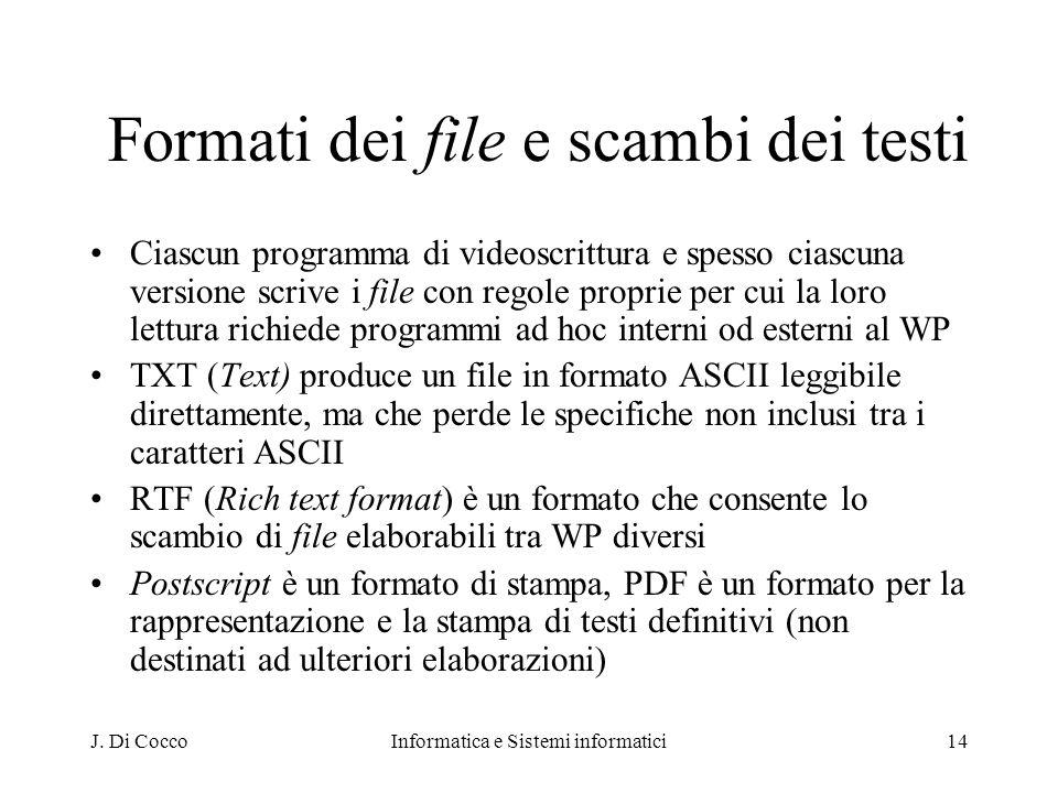 Formati dei file e scambi dei testi