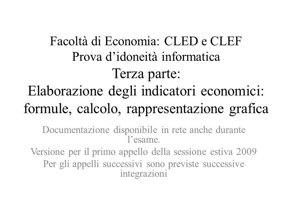Facoltà di Economia: CLED e CLEF Prova d'idoneità informatica Terza parte: Elaborazione degli indicatori economici: formule, calcolo, rappresentazione grafica