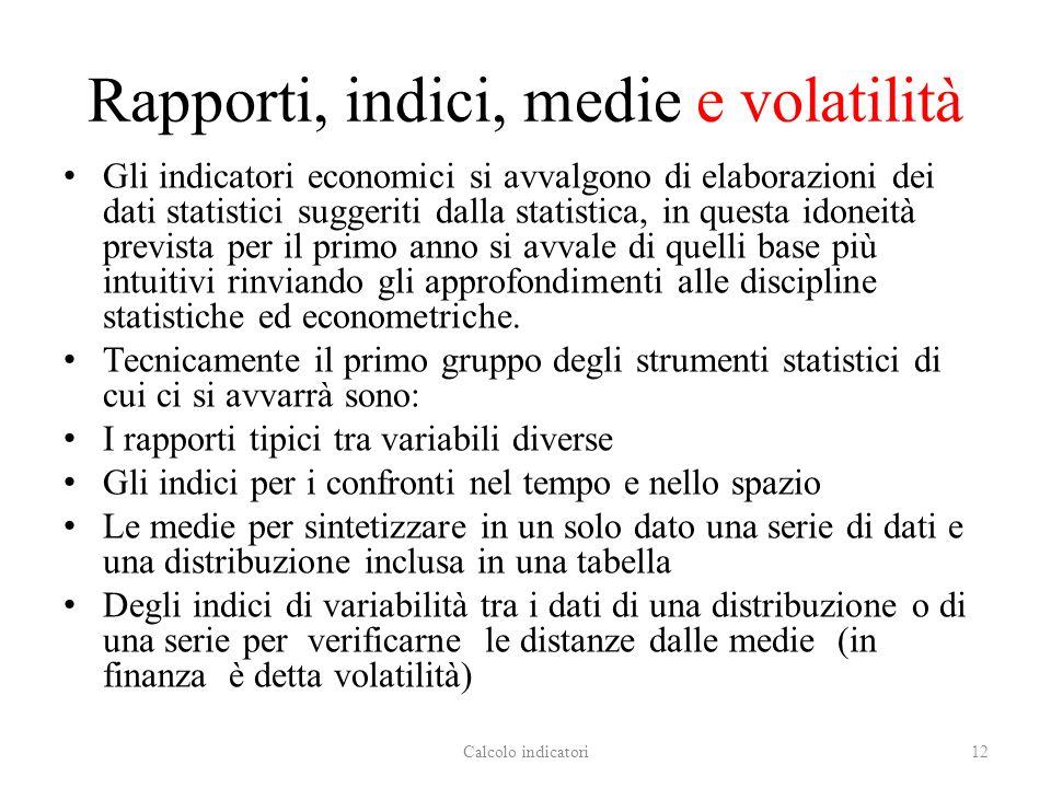 Rapporti, indici, medie e volatilità