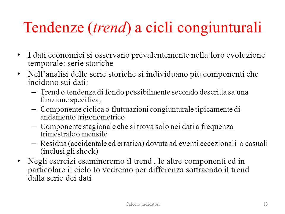 Tendenze (trend) a cicli congiunturali