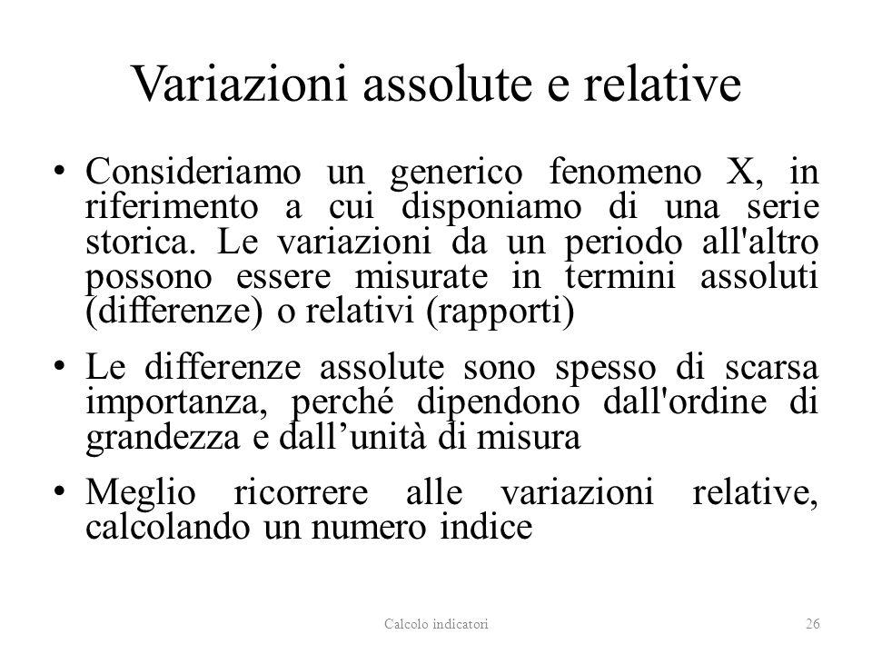 Variazioni assolute e relative