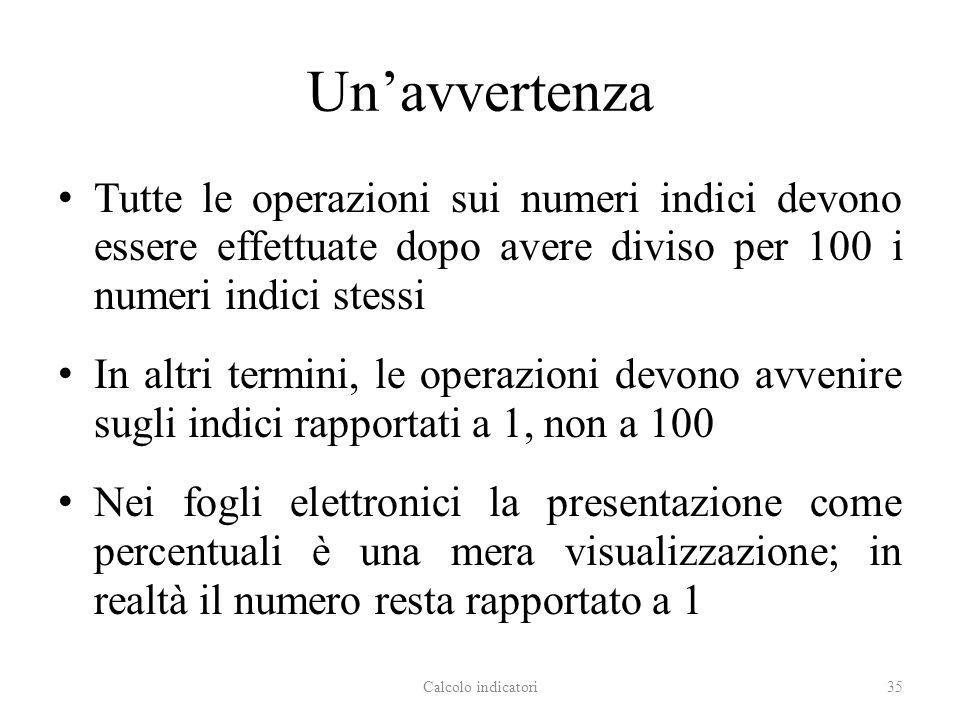 Un'avvertenza Tutte le operazioni sui numeri indici devono essere effettuate dopo avere diviso per 100 i numeri indici stessi.