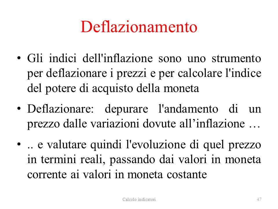 Deflazionamento Gli indici dell inflazione sono uno strumento per deflazionare i prezzi e per calcolare l indice del potere di acquisto della moneta.