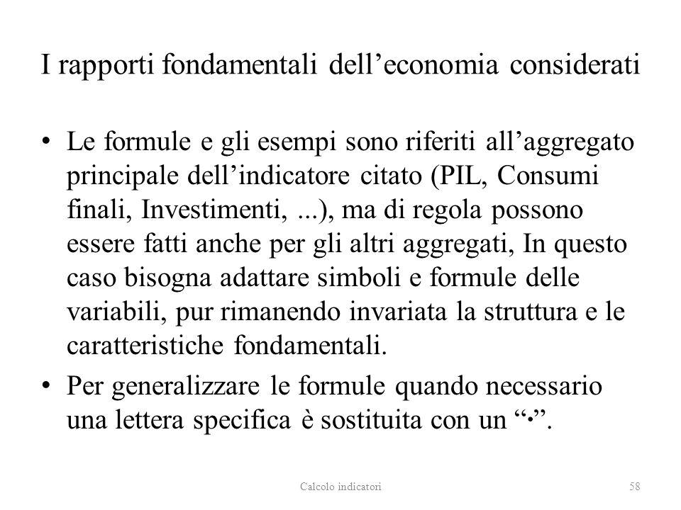 I rapporti fondamentali dell'economia considerati