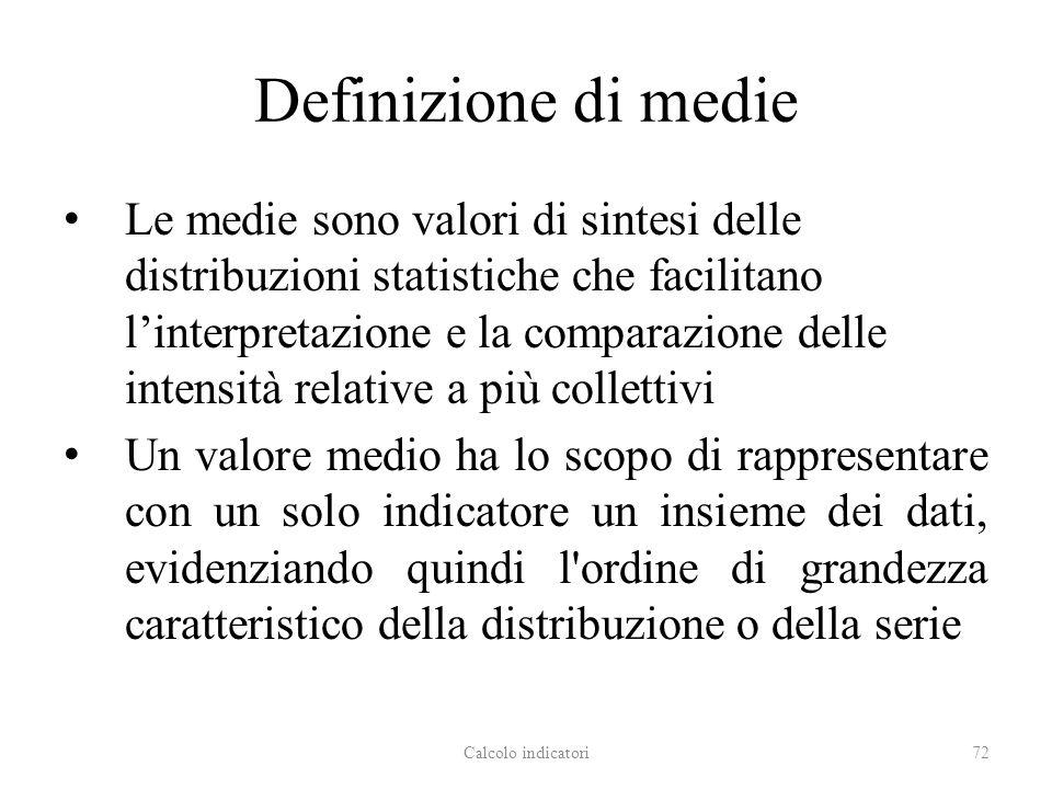 Definizione di medie