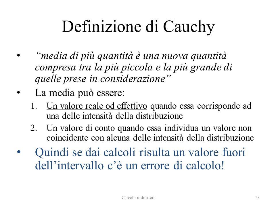 Definizione di Cauchy media di più quantità è una nuova quantità compresa tra la più piccola e la più grande di quelle prese in considerazione