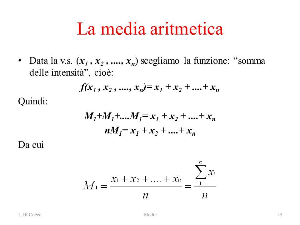 La media aritmetica Data la v.s. (x1 , x2 , ...., xn) scegliamo la funzione: somma delle intensità , cioè:
