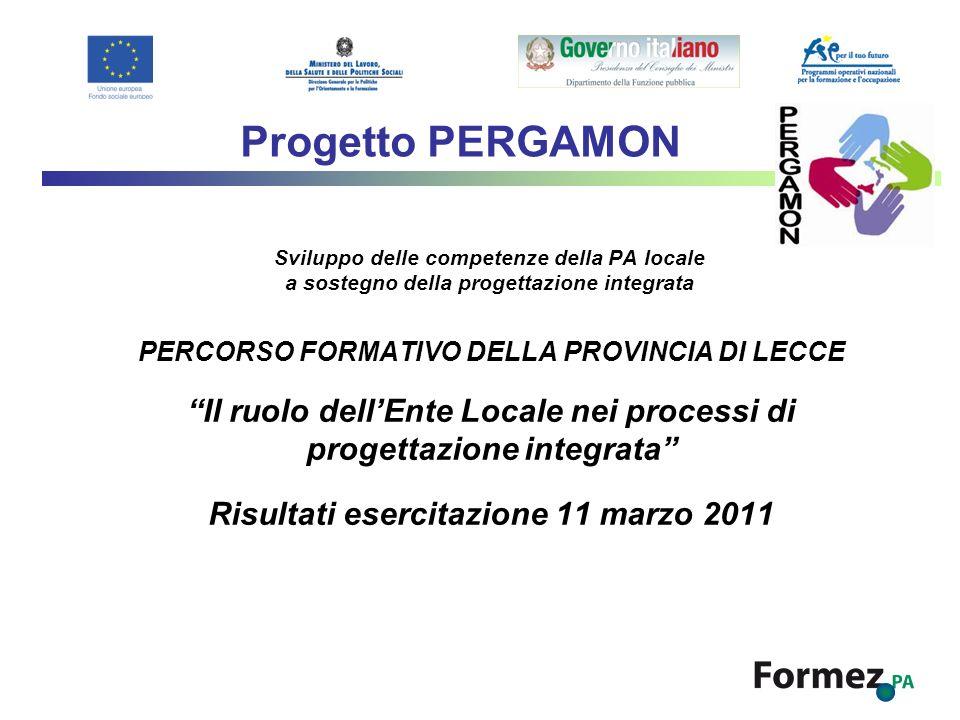 Progetto PERGAMON Sviluppo delle competenze della PA locale a sostegno della progettazione integrata.