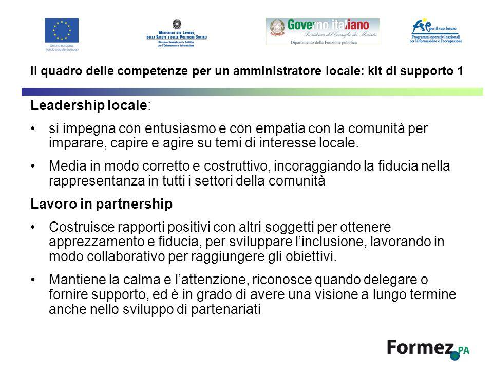 Il quadro delle competenze per un amministratore locale: kit di supporto 1