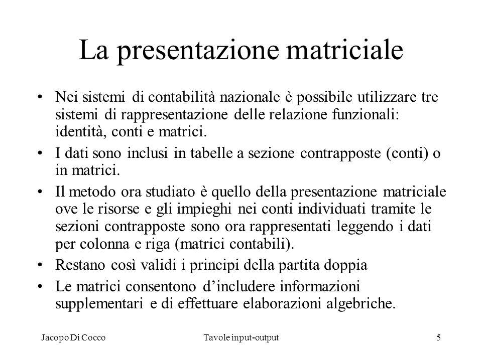 La presentazione matriciale