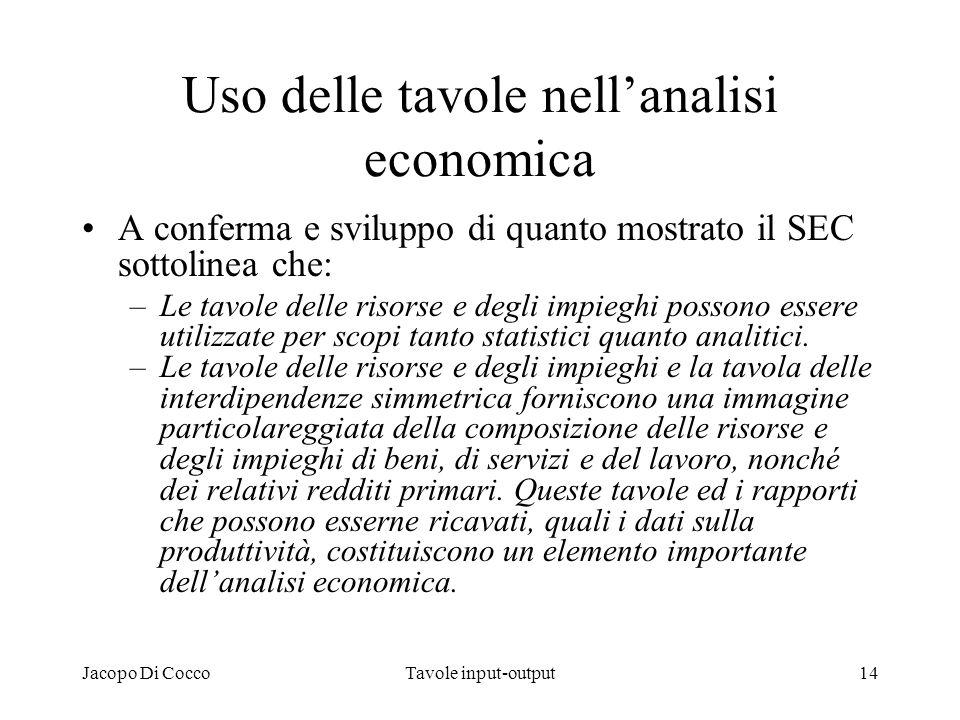 Uso delle tavole nell'analisi economica