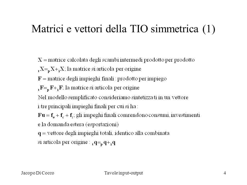 Matrici e vettori della TIO simmetrica (1)