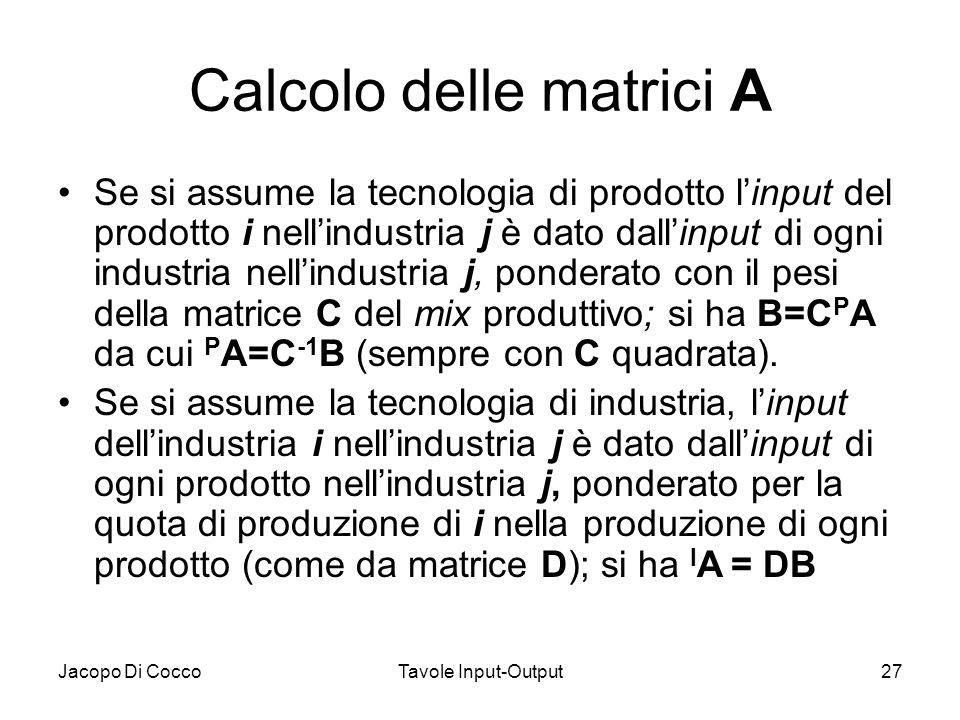 Calcolo delle matrici A