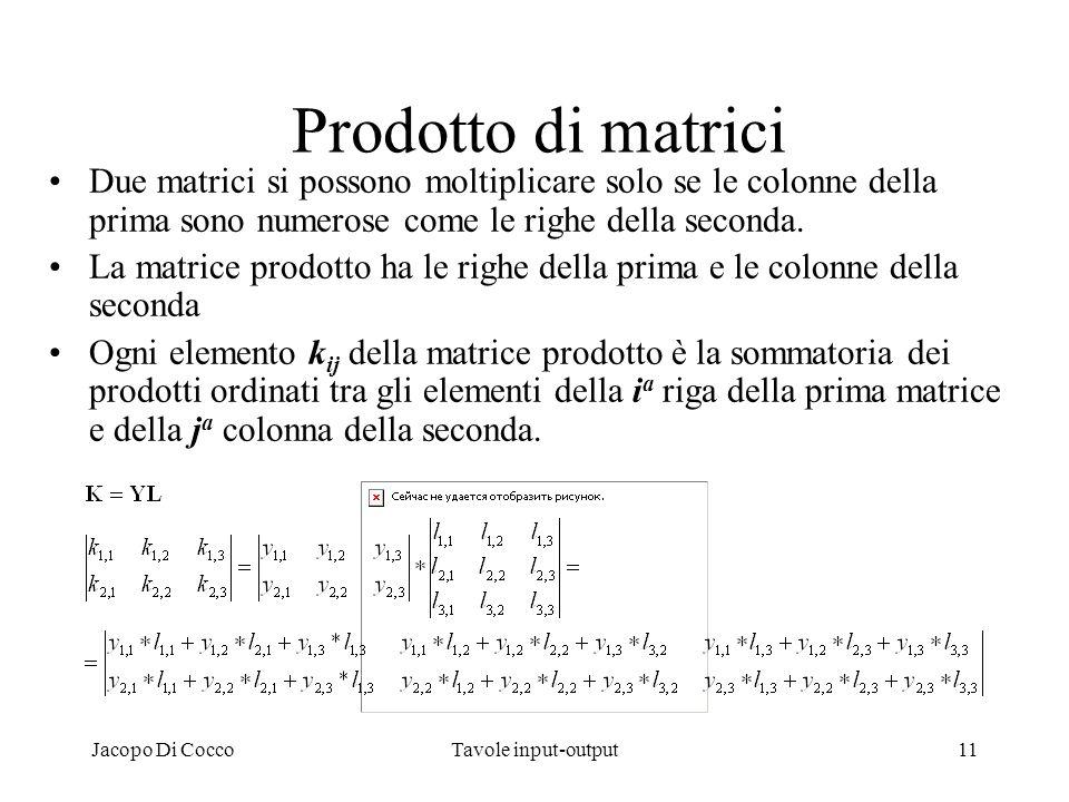 Prodotto di matrici Due matrici si possono moltiplicare solo se le colonne della prima sono numerose come le righe della seconda.