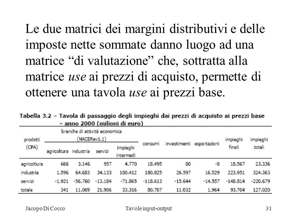 Le due matrici dei margini distributivi e delle imposte nette sommate danno luogo ad una matrice di valutazione che, sottratta alla matrice use ai prezzi di acquisto, permette di ottenere una tavola use ai prezzi base.