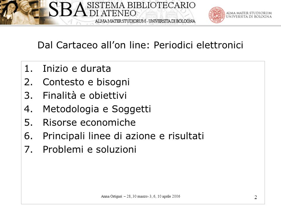Dal Cartaceo all'on line: Periodici elettronici
