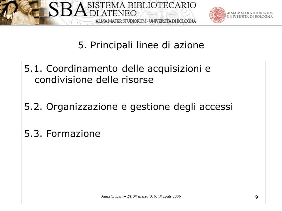 5. Principali linee di azione