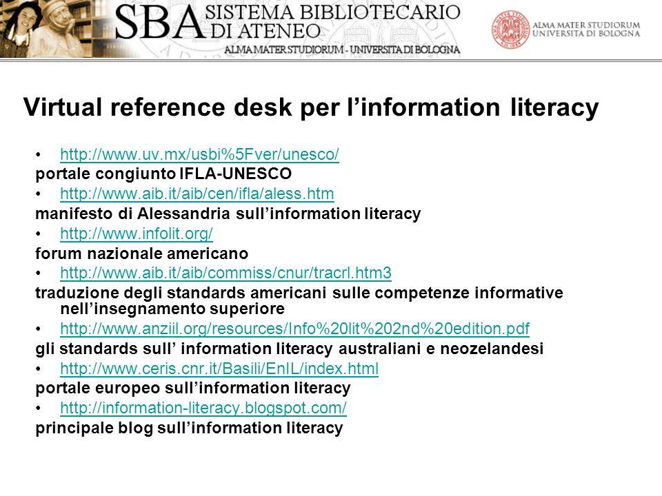 Virtual reference desk per l'information literacy