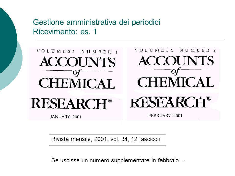Gestione amministrativa dei periodici Ricevimento: es. 1