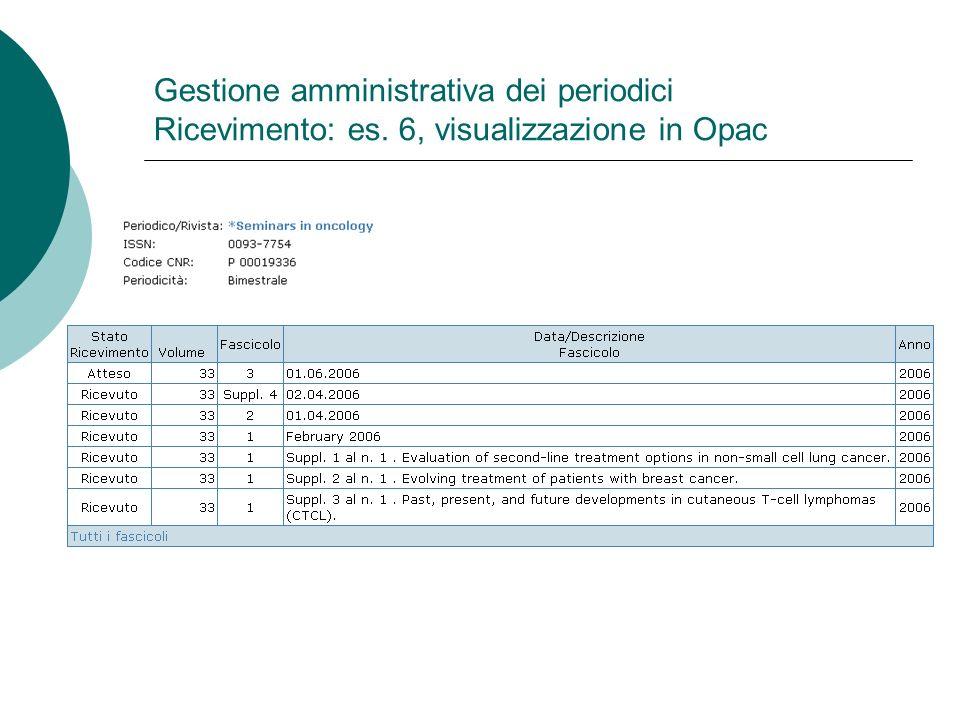 Gestione amministrativa dei periodici Ricevimento: es