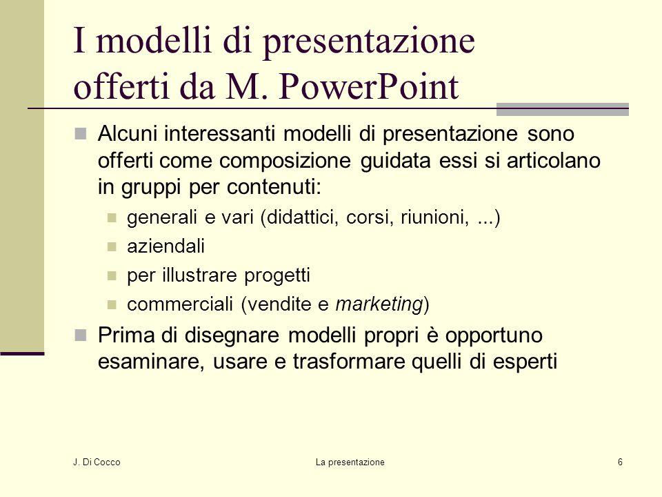 I modelli di presentazione offerti da M. PowerPoint