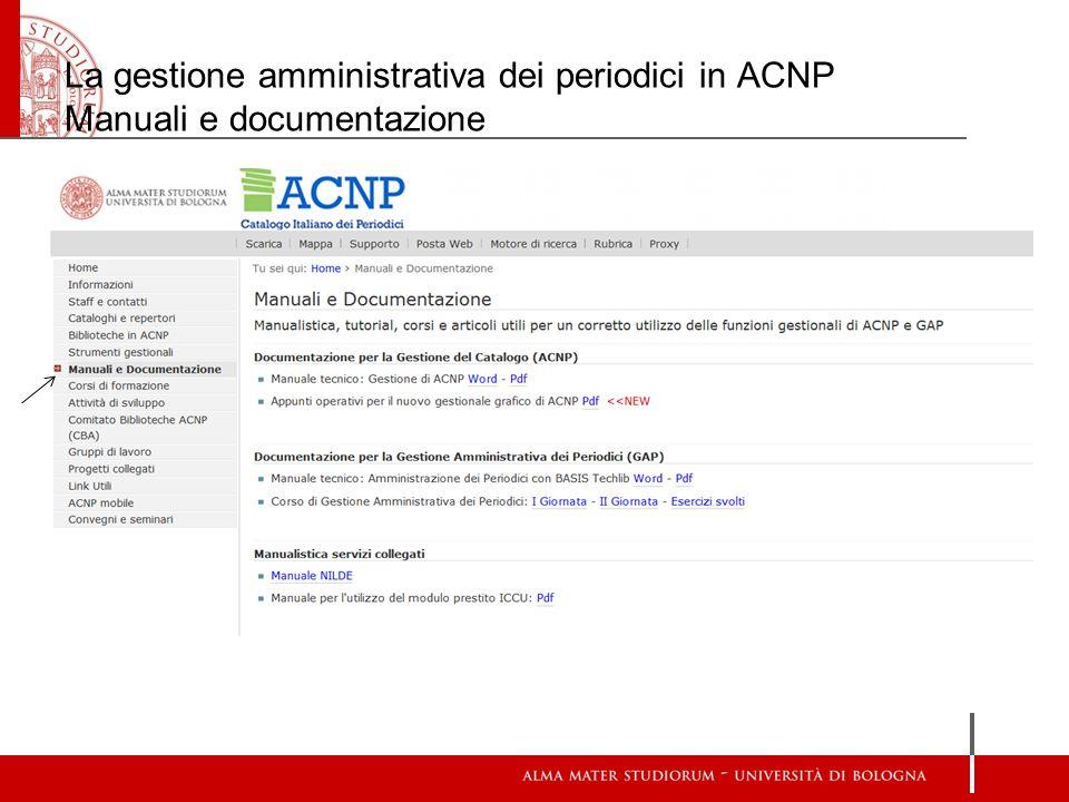 La gestione amministrativa dei periodici in ACNP Manuali e documentazione