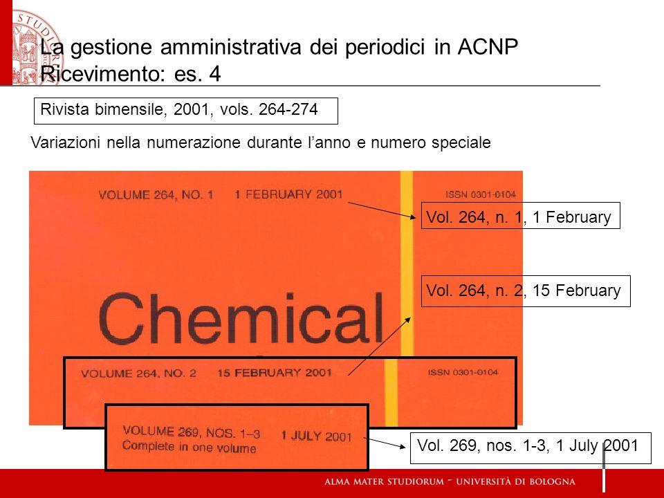 La gestione amministrativa dei periodici in ACNP Ricevimento: es. 4