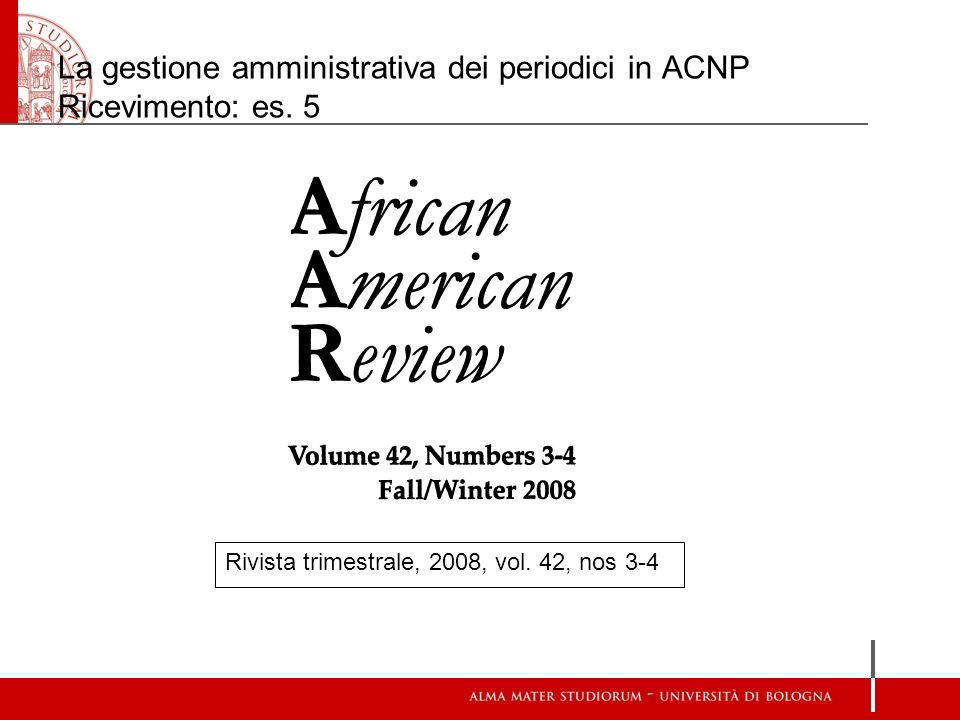La gestione amministrativa dei periodici in ACNP Ricevimento: es. 5