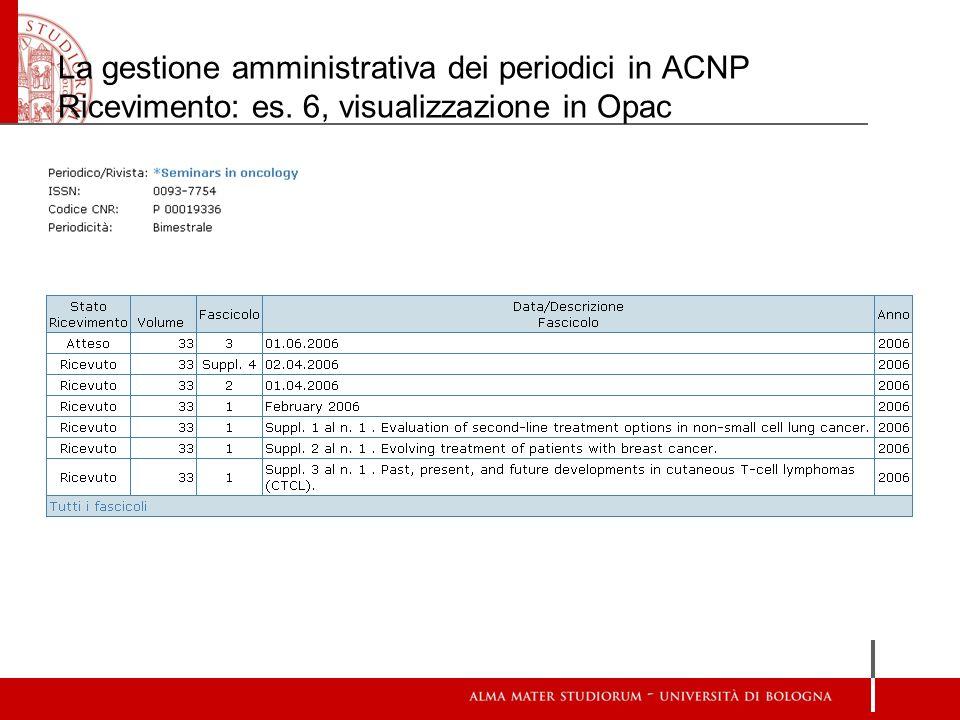 La gestione amministrativa dei periodici in ACNP Ricevimento: es