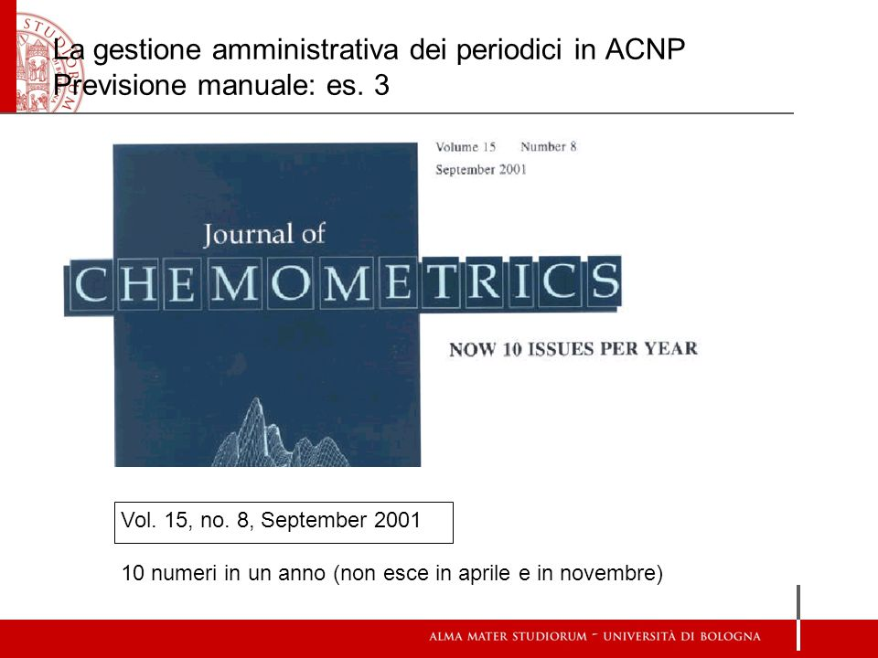 La gestione amministrativa dei periodici in ACNP Previsione manuale: es. 3