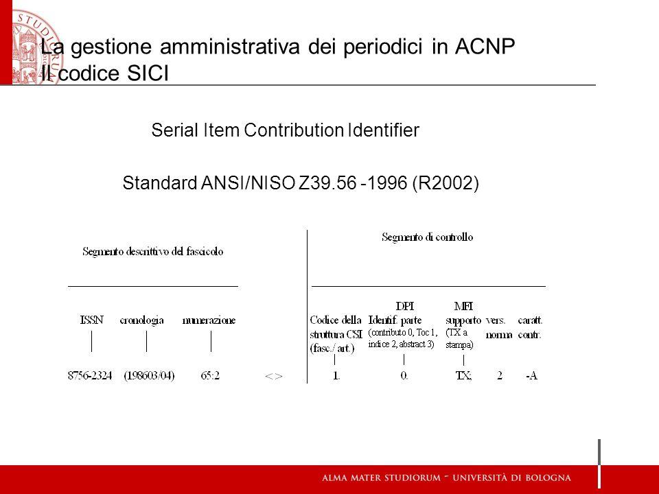 La gestione amministrativa dei periodici in ACNP Il codice SICI