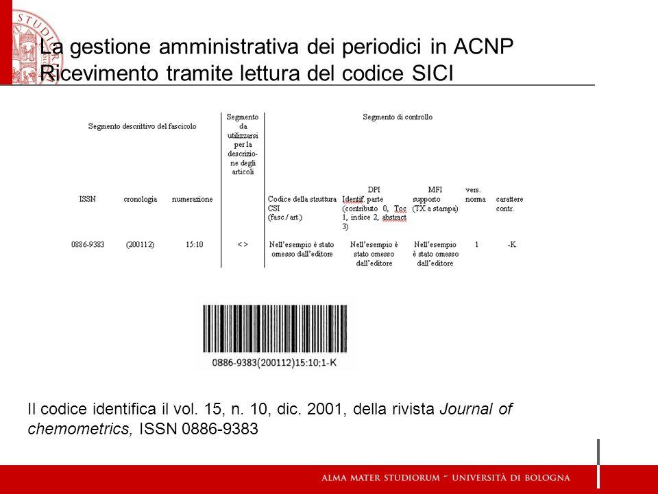 La gestione amministrativa dei periodici in ACNP Ricevimento tramite lettura del codice SICI