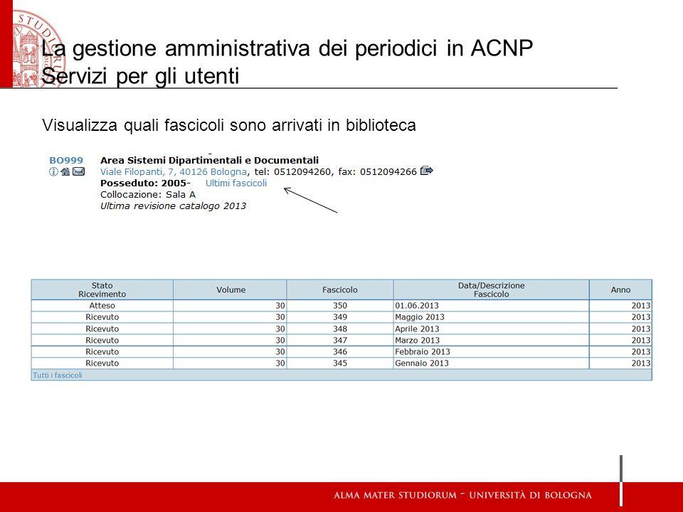 La gestione amministrativa dei periodici in ACNP Servizi per gli utenti