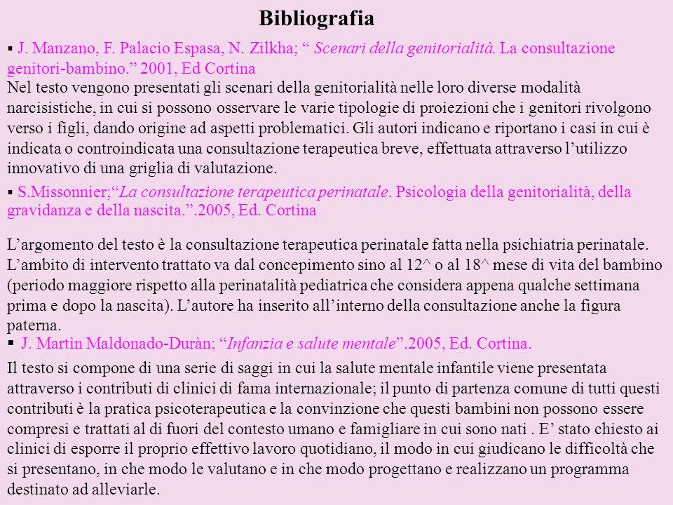 Bibliografia J. Manzano, F. Palacio Espasa, N. Zilkha; Scenari della genitorialità. La consultazione genitori-bambino. 2001, Ed Cortina.