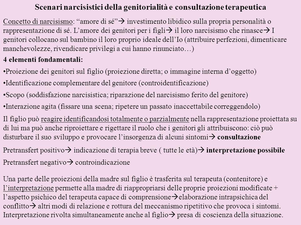 Scenari narcisistici della genitorialità e consultazione terapeutica