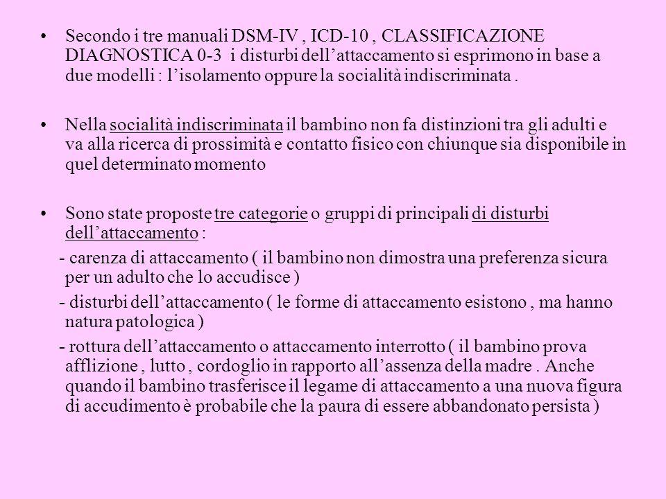Secondo i tre manuali DSM-IV , ICD-10 , CLASSIFICAZIONE DIAGNOSTICA 0-3 i disturbi dell'attaccamento si esprimono in base a due modelli : l'isolamento oppure la socialità indiscriminata .
