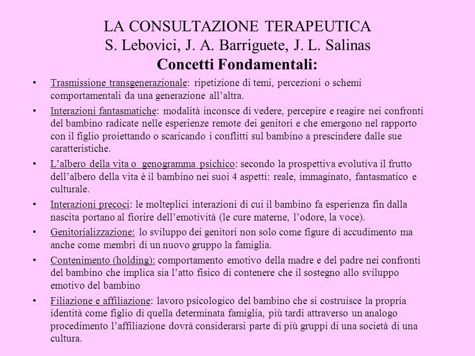 LA CONSULTAZIONE TERAPEUTICA S. Lebovici, J. A. Barriguete, J. L