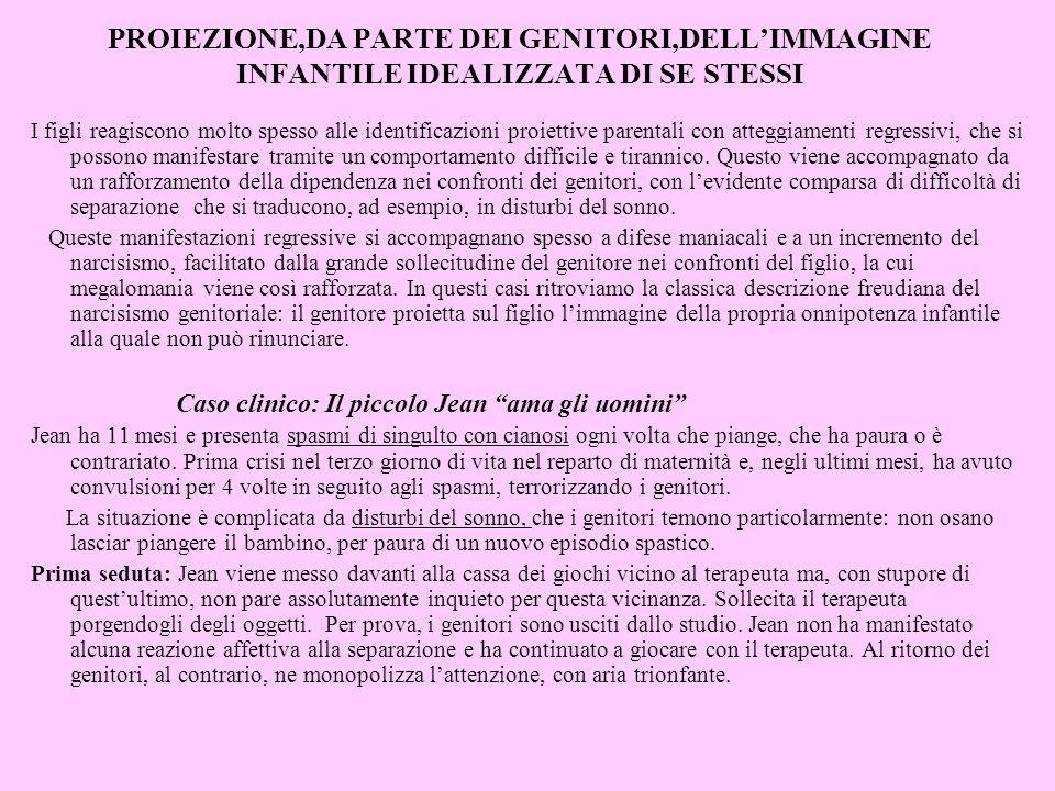 PROIEZIONE,DA PARTE DEI GENITORI,DELL'IMMAGINE INFANTILE IDEALIZZATA DI SE STESSI
