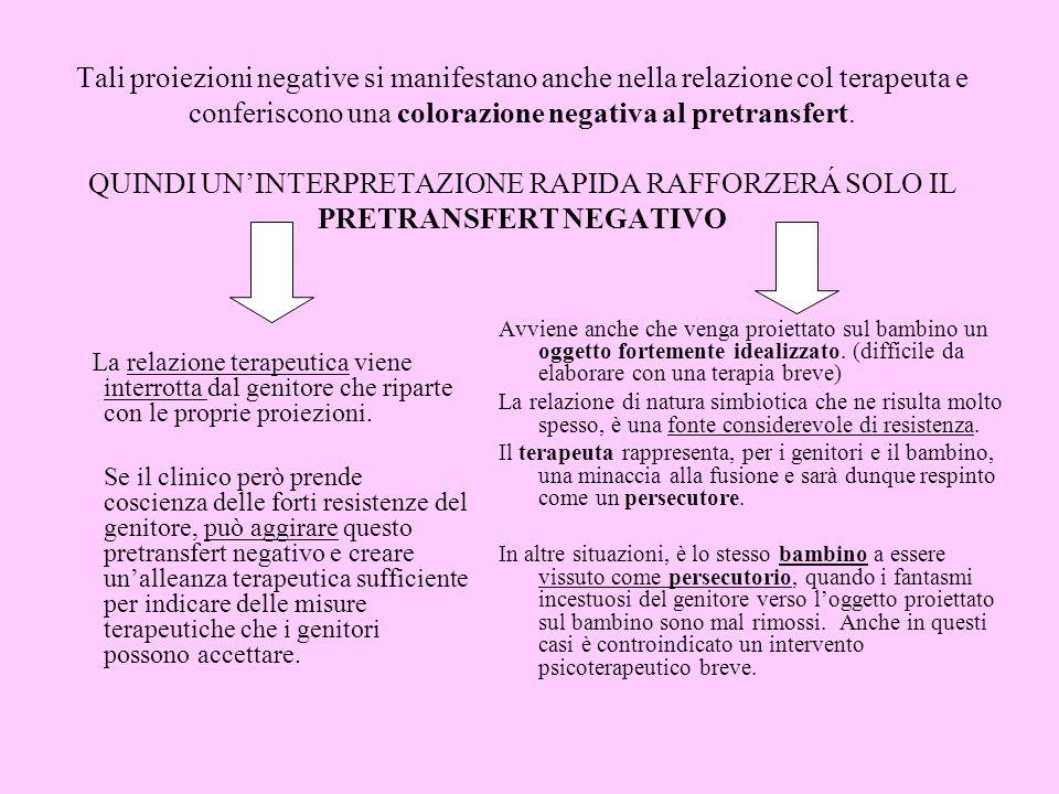 Tali proiezioni negative si manifestano anche nella relazione col terapeuta e conferiscono una colorazione negativa al pretransfert. QUINDI UN'INTERPRETAZIONE RAPIDA RAFFORZERÁ SOLO IL PRETRANSFERT NEGATIVO
