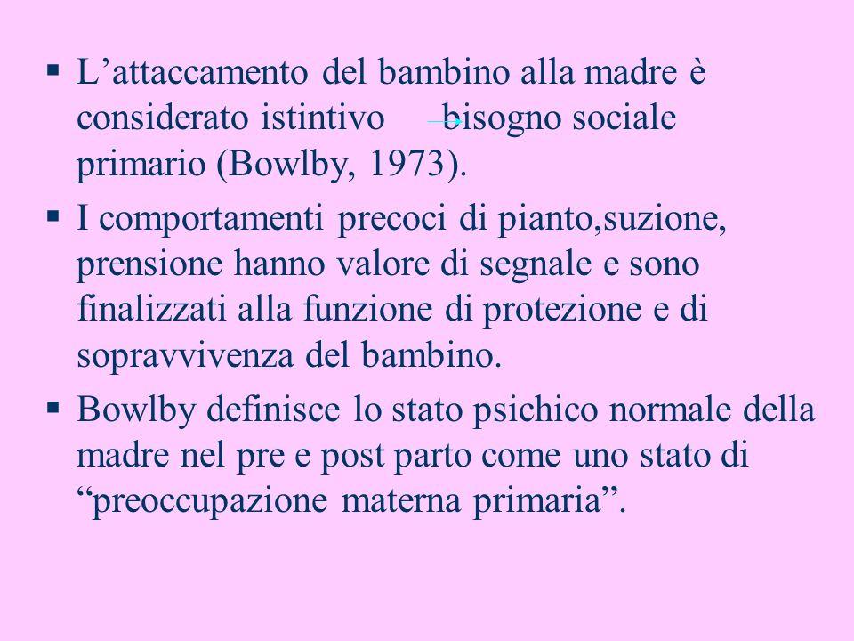 L'attaccamento del bambino alla madre è considerato istintivo bisogno sociale primario (Bowlby, 1973).