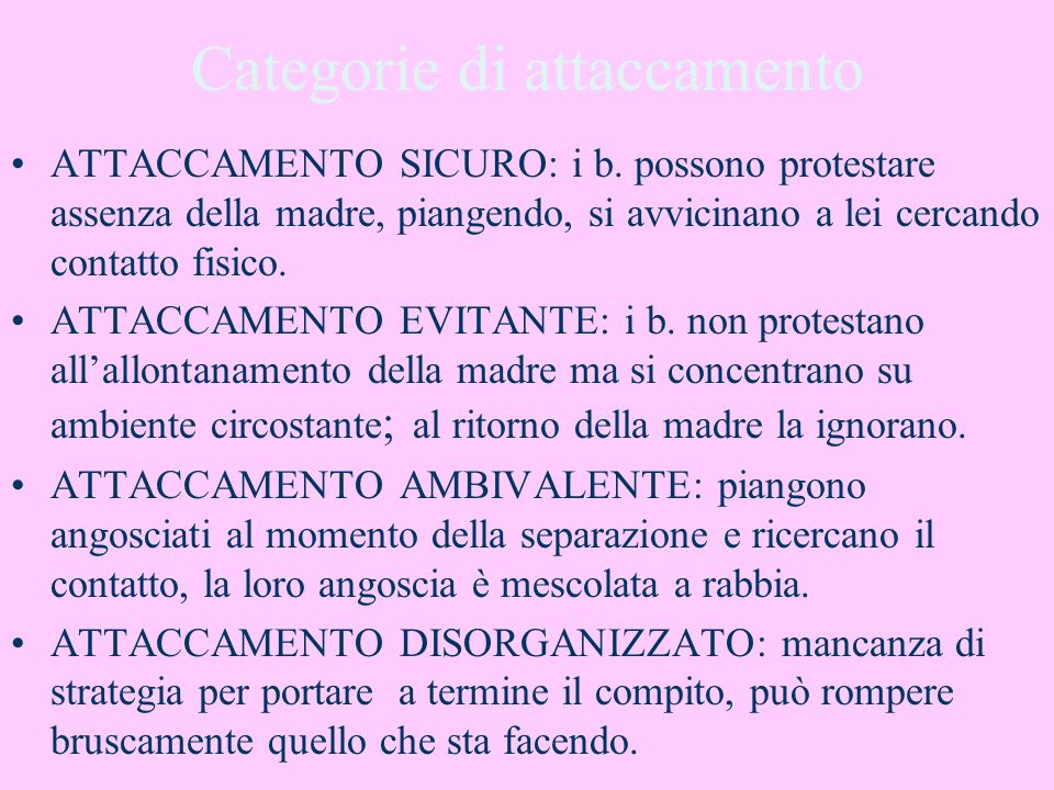 Categorie di attaccamento