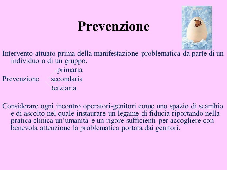 Prevenzione Intervento attuato prima della manifestazione problematica da parte di un individuo o di un gruppo.