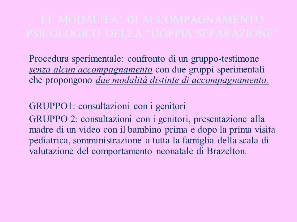 LE MODALITA' DI ACCOMPAGNAMENTO PSICOLOGICO DELLA DOPPIA SEPARAZIONE