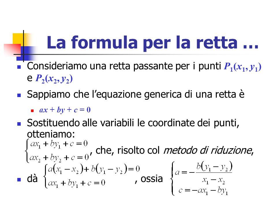 La formula per la retta …