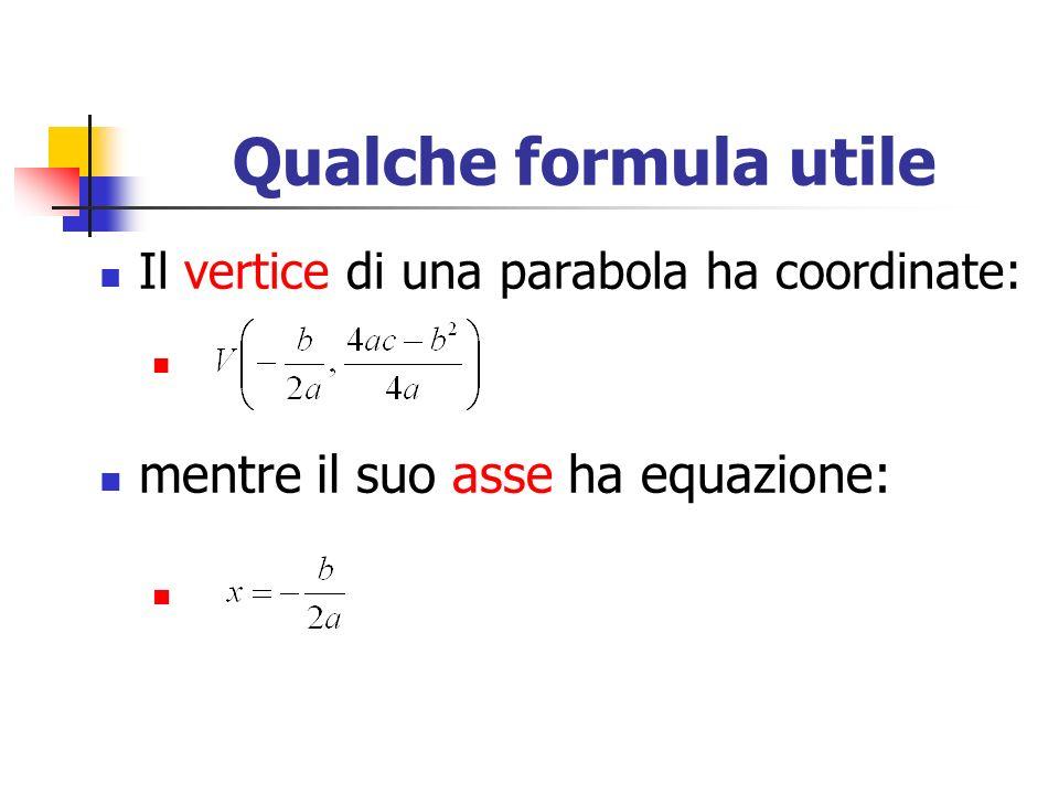 Qualche formula utile mentre il suo asse ha equazione:
