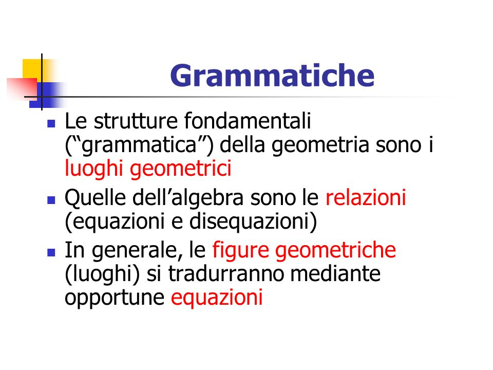 Grammatiche Le strutture fondamentali ( grammatica ) della geometria sono i luoghi geometrici.